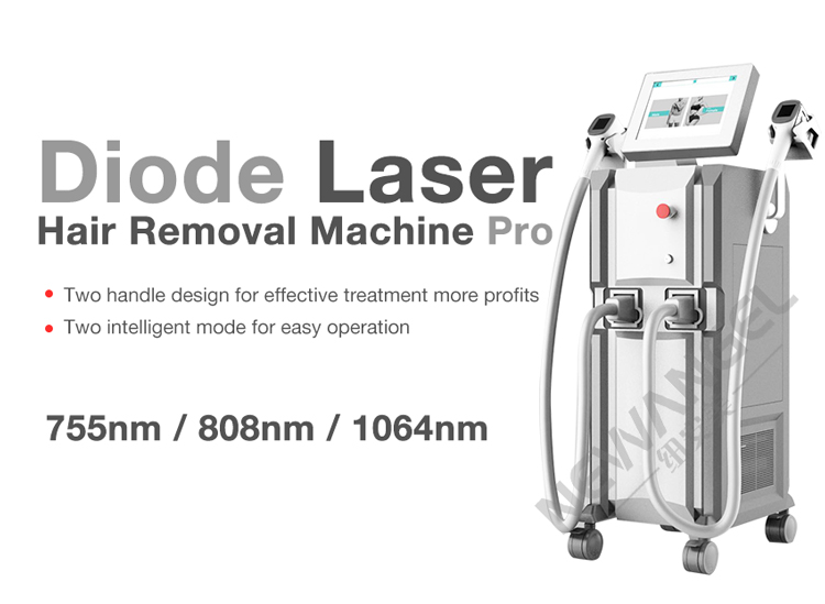 Powerful 2 handles diode laser 755 1064 808nm for hair removal skin rejuvenation