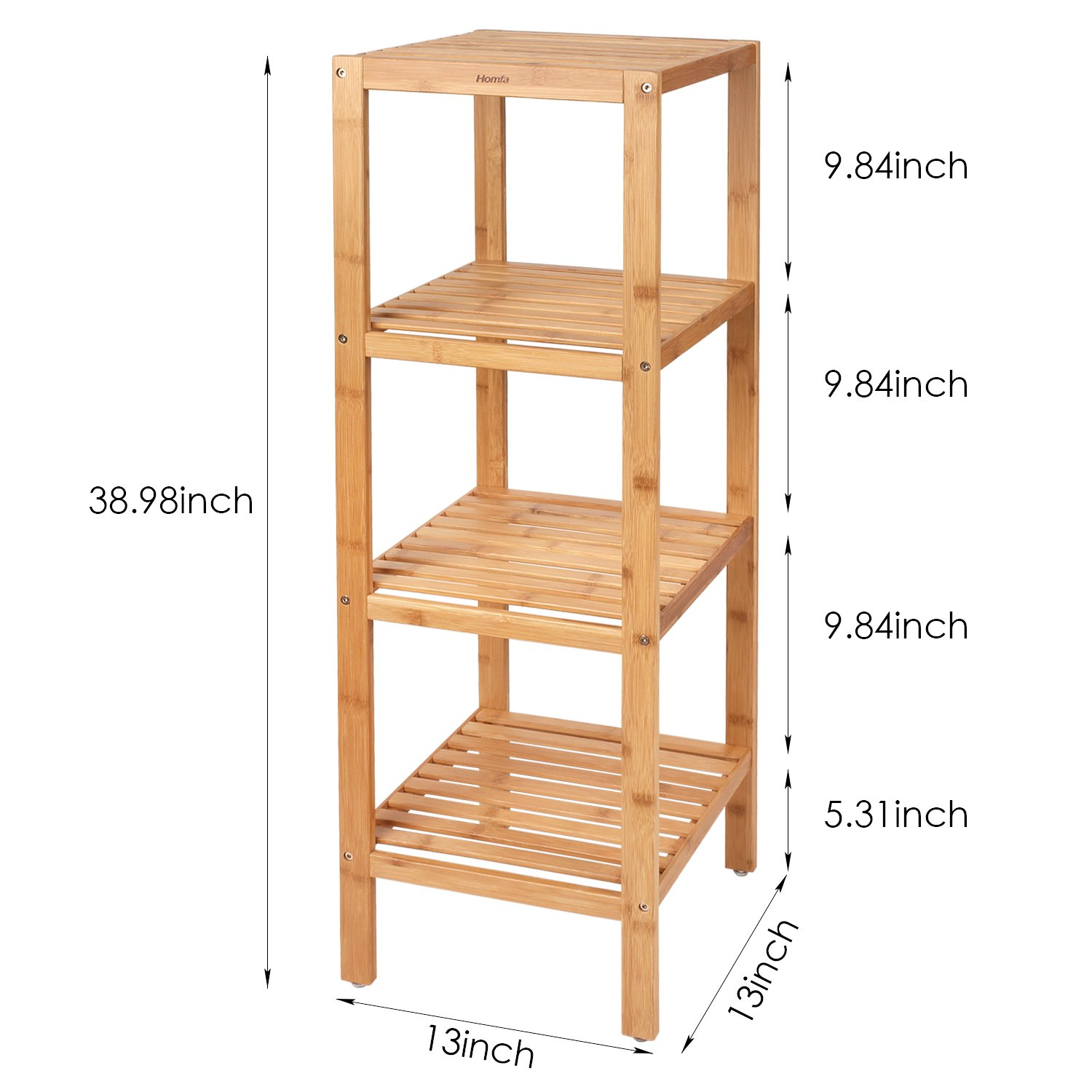 Bamboo Bathroom Shelf 4-Tier Tower Free Standing Rack Multifunctional Storage Organizer