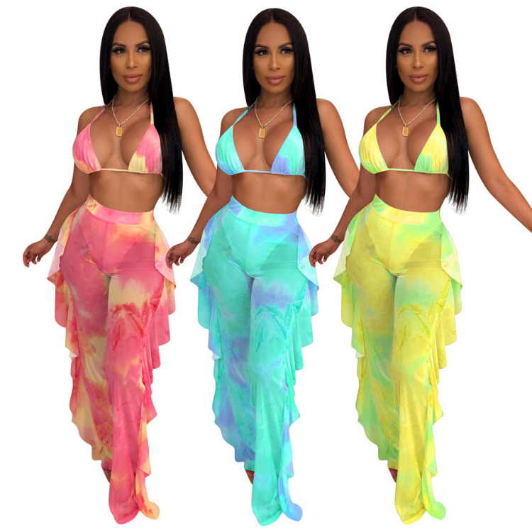 Wholesale <strong>sexy</strong> 2 piece <strong>swimsuits</strong> for women 2020 plus size tie dye swimwear bathing suit cover ups for woman