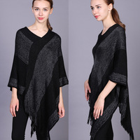ladies winter pashmina shawl knitted faux cashmere poncho