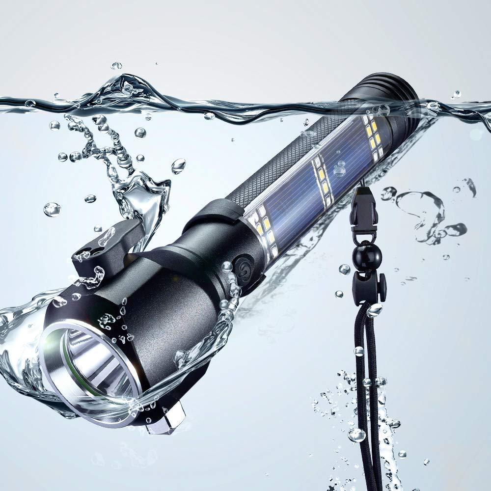 Marteau de sécurité pour voiture coupeur de ceinture de sécurité énergie solaire ou USB Rechargeable tactique aluminium rouge bleu blanc SMD 3W lampe torche LED
