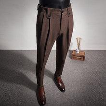 2020 Новый Бизнес Брюки модные складки Повседневное Slim Fit для свадьбы; Обувь для офиса; Социальный костюм камуфляжные брюки мужские брюки мужс...(Китай)