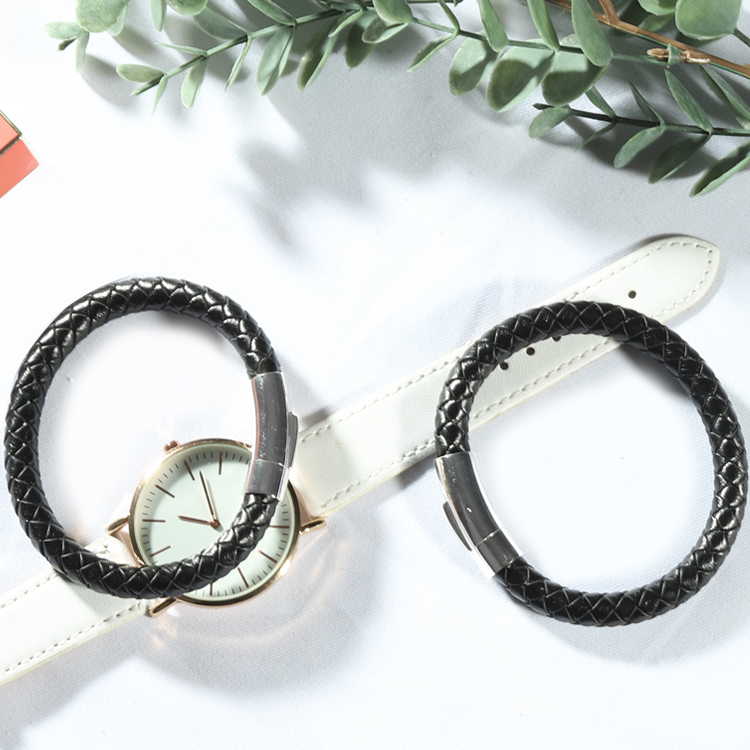 Stars Forever Promotion Stainless Steel buckle Genuine Braided Leather Bracelet Handmade фото