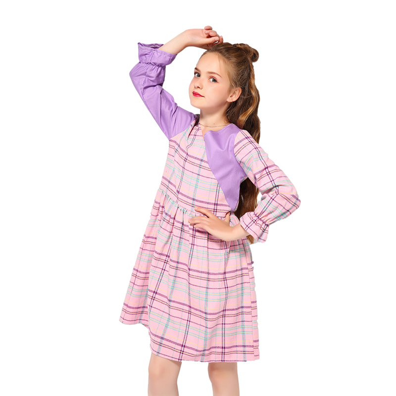 Kseniya <strong>Kids</strong> <strong>Fashion</strong> Show Patchwork V Neck Girl Plaid Long Sleeve Dress For Casual Party Pageant