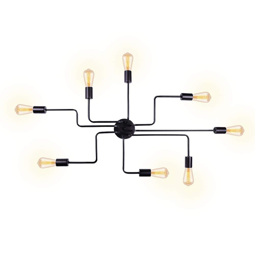 Black 8 Lights Sputnik Chandelier Semi Flush Mount Ceiling Light,Modern Industrial Style Lighting Fixture for Dining Room