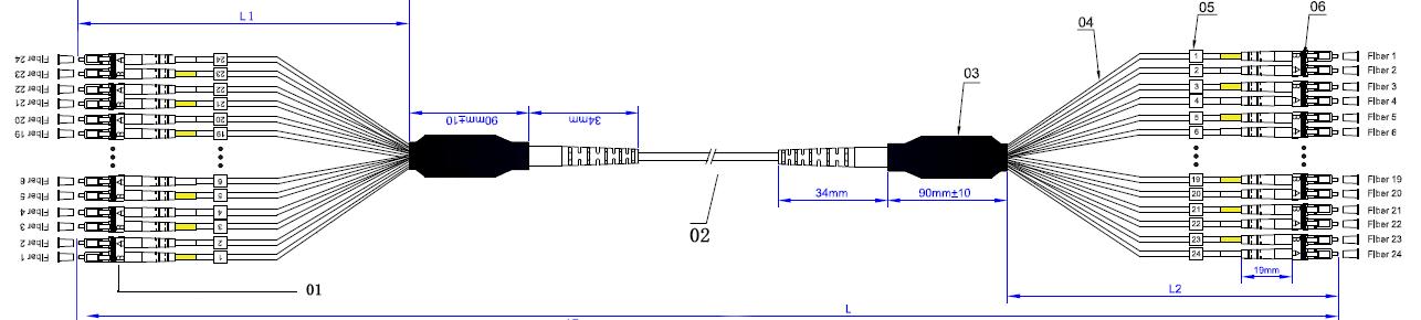 LC APC - LC UPC 12F Multi-fiber Pre-terminated Single Mode Breakout Optical Fiber Patch Cable