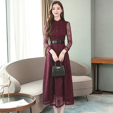 Винтажные однотонные кружевные платья миди в стиле бохо, Осень-зима 2020, 3XL размера плюс, сексуальное платье с длинным рукавом, элегантные жен...(Китай)
