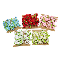 Artificial Rose Flower Pearl Bead Trim Chain Garland DIY Craft Headwear Of Bride Party Bouquet C0407
