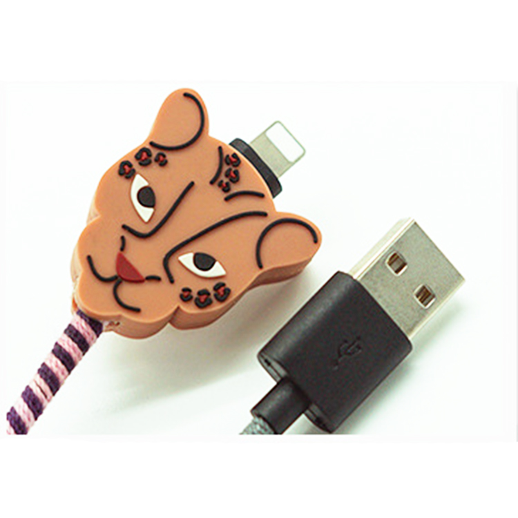 Cartoon siliconen hoofd Nylon Gevlochten data cable