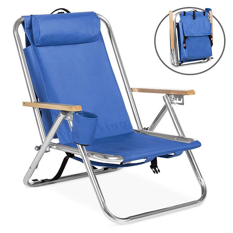 Sedia di spiaggia esterna basso sit, pieghevole in alluminio a buon mercato pieghevole per esterni sedia a sdraio