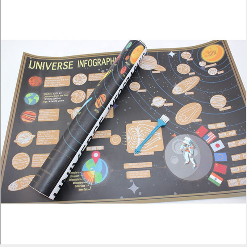 2020 NEW 57.5x41.8cm Gold Coated Paper Material Universe Infographic Scratch Off Map