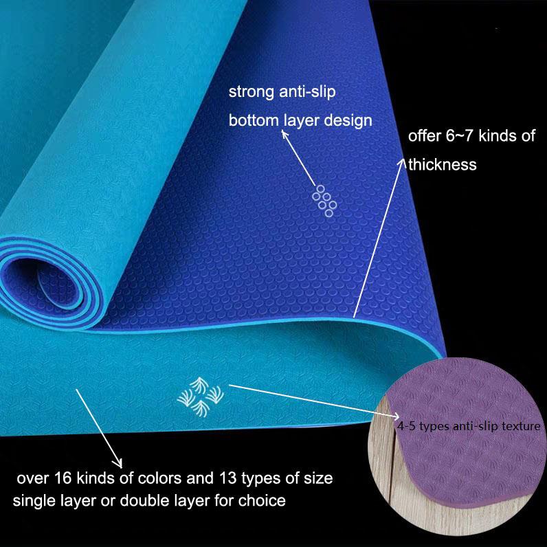 2019 High Quality Customizable European Standard Anti Slip Tpe Yoga Hot Exercise Mat