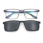 Polarized Metal Frame optical Glasses with Metal Clips On Eyewear glass