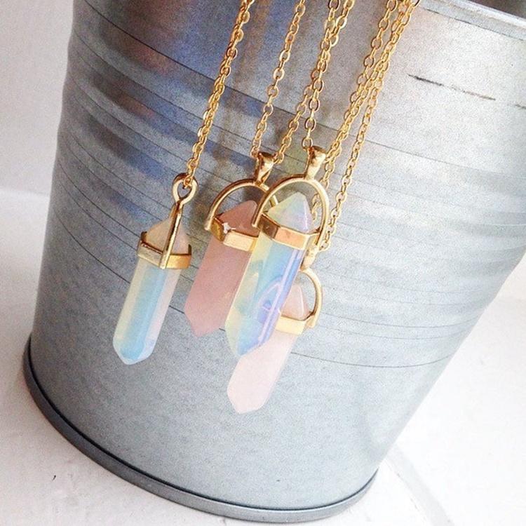 Femmes Bijoux En Pierre Naturelle Rose Balle Collier Hexagonal Collier En Cristal de Quartz