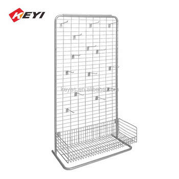 Professional Custom Retail Shop Metal Wire Mesh Display Panels / Display Rack For Hanging Items
