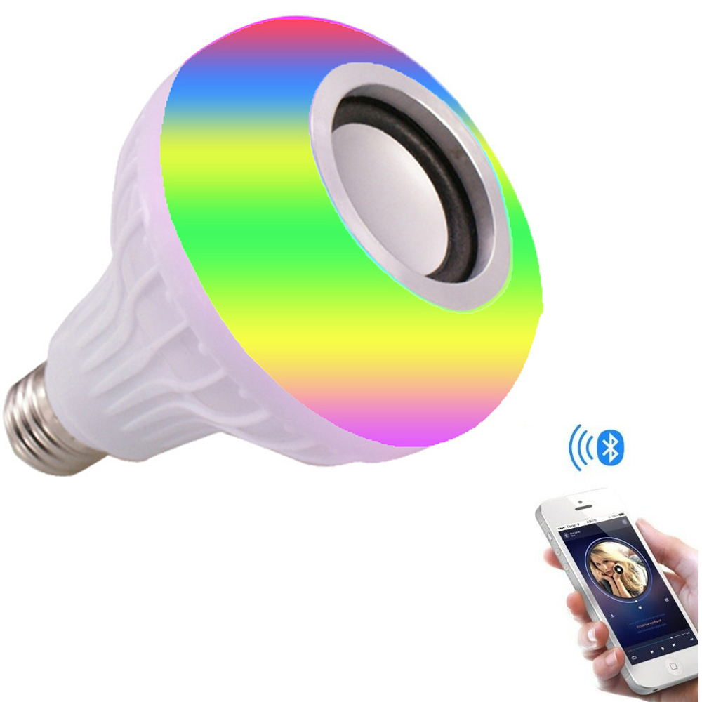 E26 E27 base RGB Multicolor Remote Control Wireless Led Smart Bulb With Bluetooth Speaker