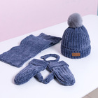 E379 Baby Kids 3pcs Set Winter Outdoor Warm Plus Velvet Knitted Hat Pom Pom Beanie Scarf Hat And Glove Sets