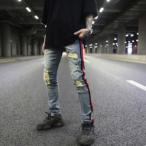 OEM vintage washed stock dropshipping ripped distressed men track skinny denim jeans pants