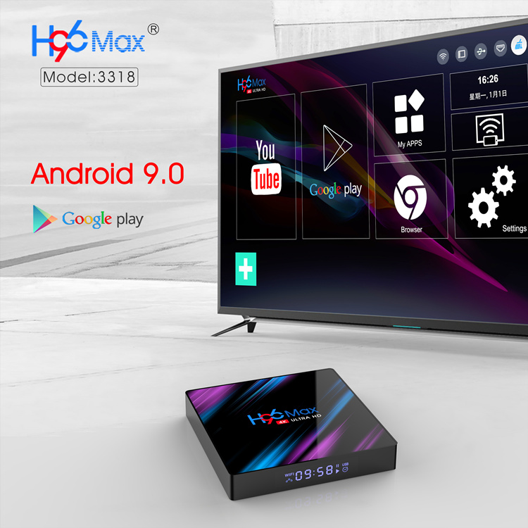 H96 Max Plus 4gb 32gb Tv Box 9.0 Smart TVBox RK3318 2.4G/5Ghz Wifi HDR 4K H.265 H96MAX مشغل الوسائط