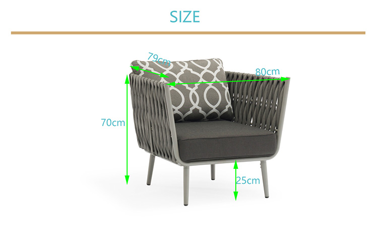 Outdoor furniture corner modern Garden Aluminium rattan fabric sofa rope sofa sets