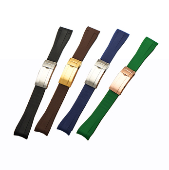 silicone watch strap 20mm rubber watch straps curved