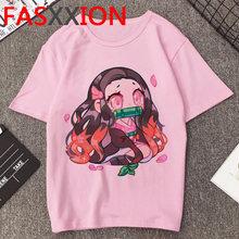 Футболка Demon Slayer Женская японское аниме 2020 летняя футболка унисекс размера плюс Kawaii Kimetsu No Yaiba Graphic Tees Woman(China)