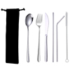6pcs silver cutlery & black bag