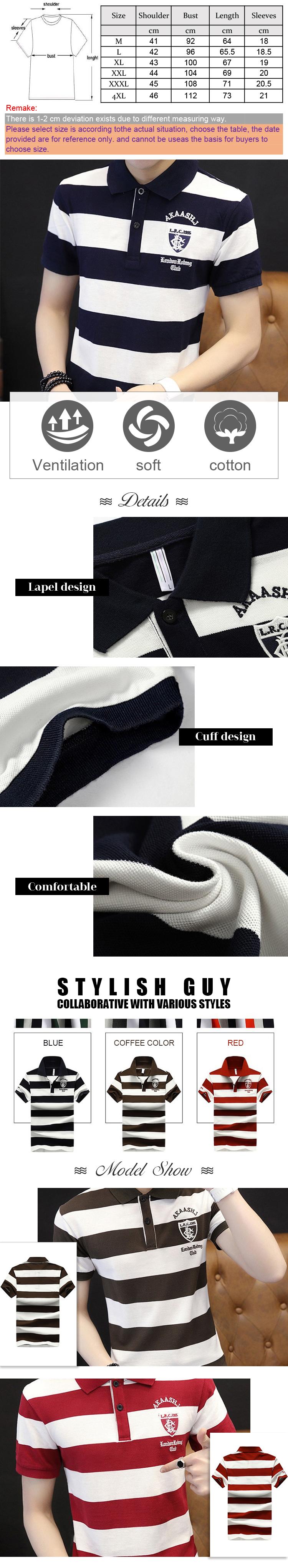 Polo t-shirt en coton biologique à rayures bleu foncé de style chaud pour les hommes 100% coton