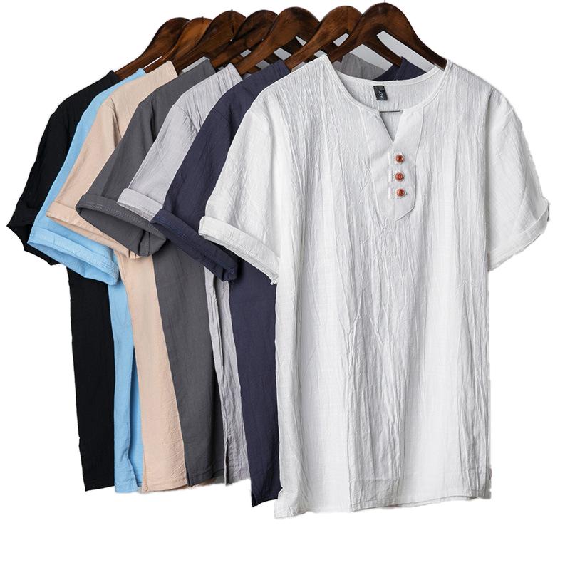 उच्च गुणवत्ता सन कपड़े गर्मियों में पुरुषों के कपड़ों की आकस्मिक पहनने वी गर्दन प्लस आकार 5XL लिनन टी शर्ट के लिए पुरुषों