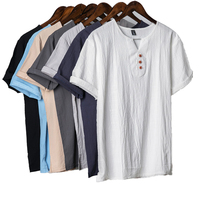 High Quality Hemp Fabric Summer Men's Clothing Casual Wear V Neck Plus Size 5XL Linen T Shirt For Men