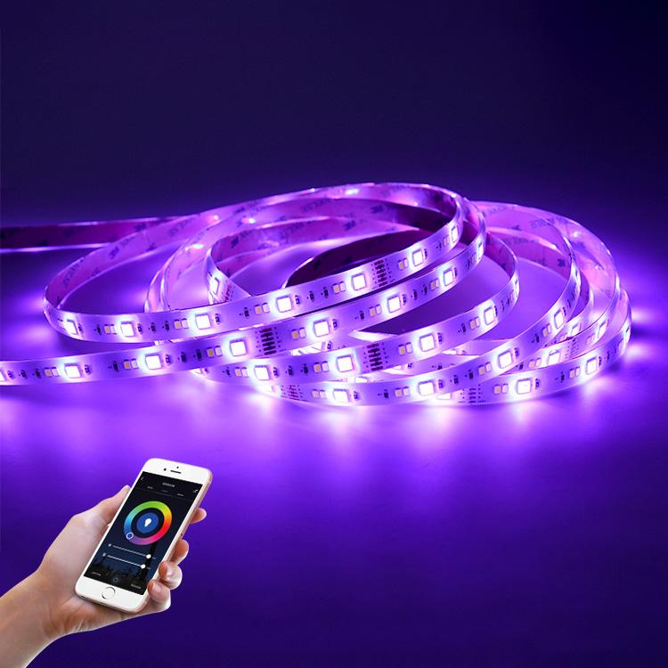 12V DC 5050 RGB 30LEDS+ 2835 2700K 30LEDS + 2835 6500K 30LEDS Phone Control Smart Flexible RGBW LED Strip Light