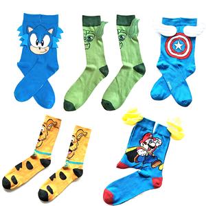 High quality comics cartoon tube character socks wholesale happy funny novelty  crew cotton