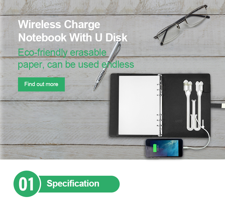 Custom Pu Reusable Book Wireless Diary Planner Power Bank Notebook Notepad With Charging