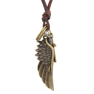 VRIUA New Arrival Trendy Fashion Unique Handmade Alloy Angel Wing Pendants Men Leather Necklaces Jewelry For Men