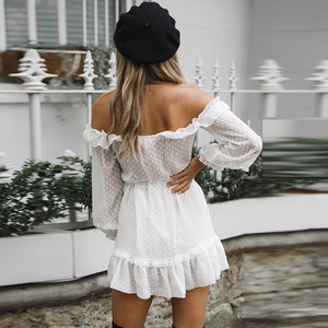 Off The Shoulder Puff Sleeve Ruched Frill Trim White Lace Polka Dot Dress Women