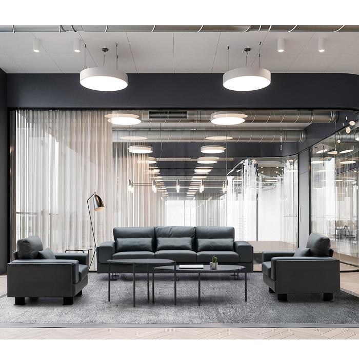 Made in china europäischen stil drei set und einzelnen besucher büro sofa sitz foshan designs moderne in pu