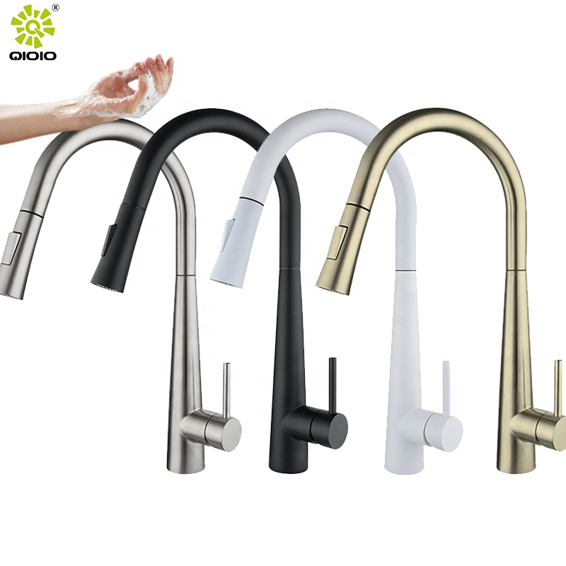 Sensor Touch Faucet Pull out kitchen faucet 304 stainless steel brushed hot and cold mixed faucet professional manufacturer
