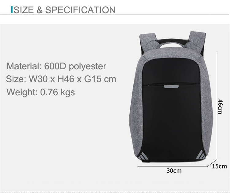 USB Charging Laptop Bag B Level 15 inches Backpack Reflective Stripe Anti theft Bags Outdoor Waterproof Backpack