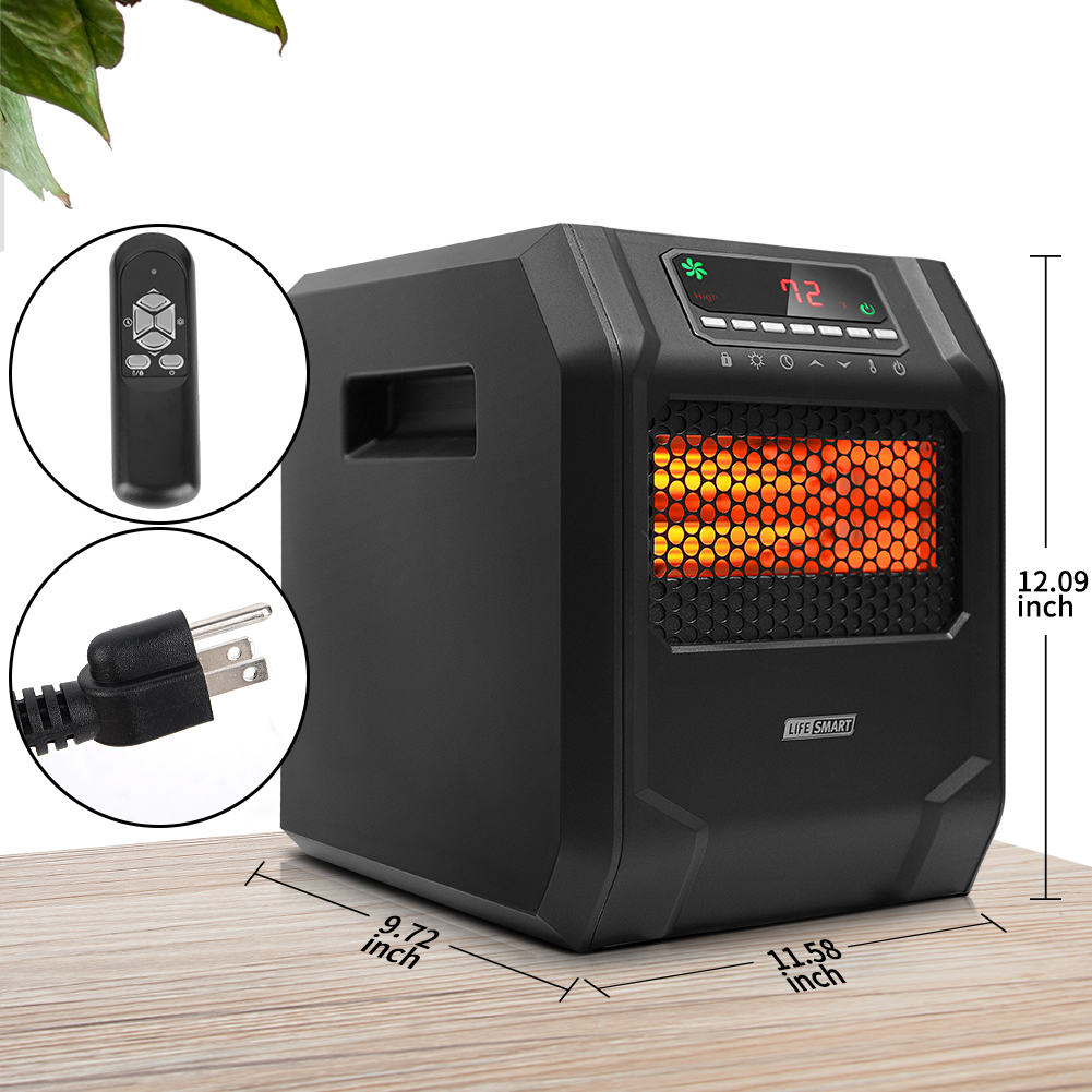 6 Element Fan Heating Space Air Electric Infrared Heater with Remote