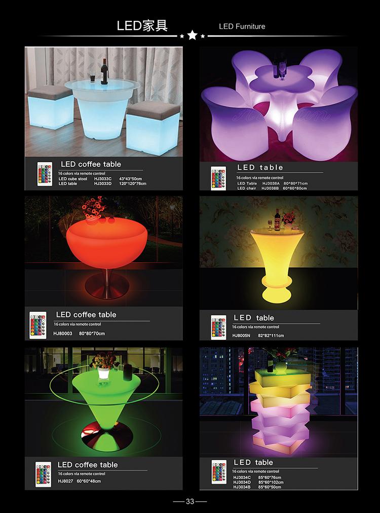 2021 Современная Вечеринка умное управление Led свет вверх коктейльный стол со стеклянной столешницей