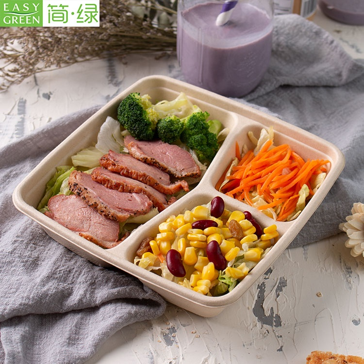 Biodegradable disposable food grade 100% eco-friend 3 compartment bagasse pulp restaurant take away food container