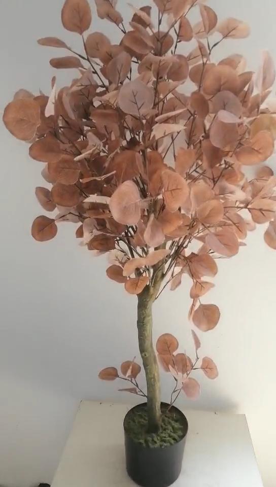 New Model Plastic Small Pink Artificial Bonsai Tree Plants  For Garden Decor