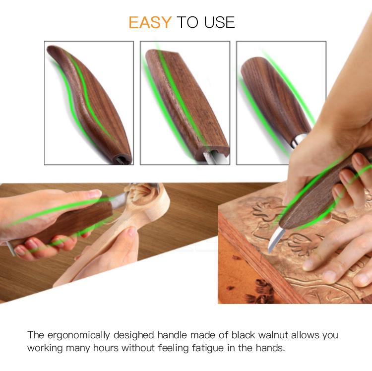 ความต้านทานการกัดกร่อนที่ดีใบมีดสแตนเลสช้อนเครื่องมือแกะสลักชุดสำหรับ Easy ไม้แกะสลัก