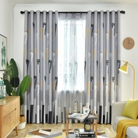 Hotel 100%Polyester Blackout Fabric Shower Set Curtain for Bathroom