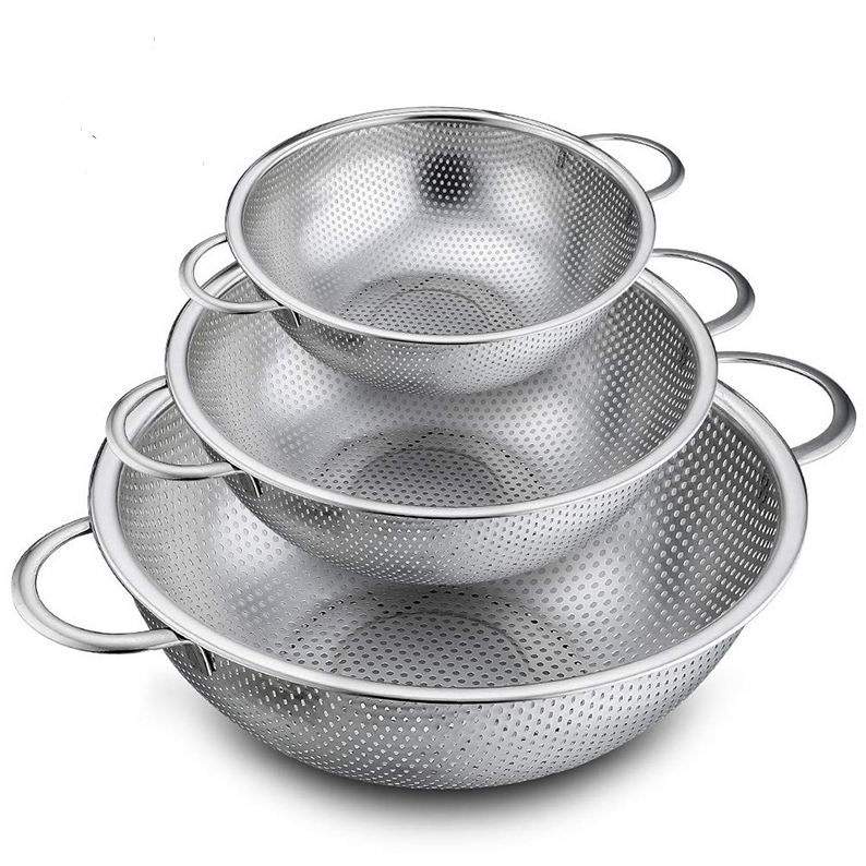3 in 1 Heavy duty handles self-draining base stainless steel kitchen sink colander set