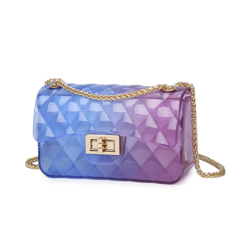 Hot selling summer design ladies jelly purse handbag mini fashion women crossbody Colorful pvc jelly bag