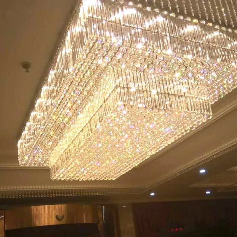 Customized Modern LED  Lustre K9 Big Foyer Large Hotel Crystal Chandelier