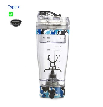 FDA approved USB rechargeable 450ML electric protein shaker bottle with powder storage