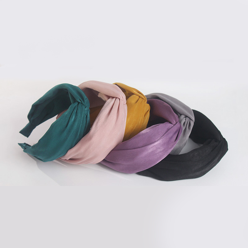 Wholesale 6 colors solid satin headband fashion crossed headband women hair holder