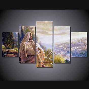 Jesus Wall Art Picture Decor 5 Panel Vintage Christian Faith Canvas Prints Poster Jesus Thorn Painting for Living Room Deco